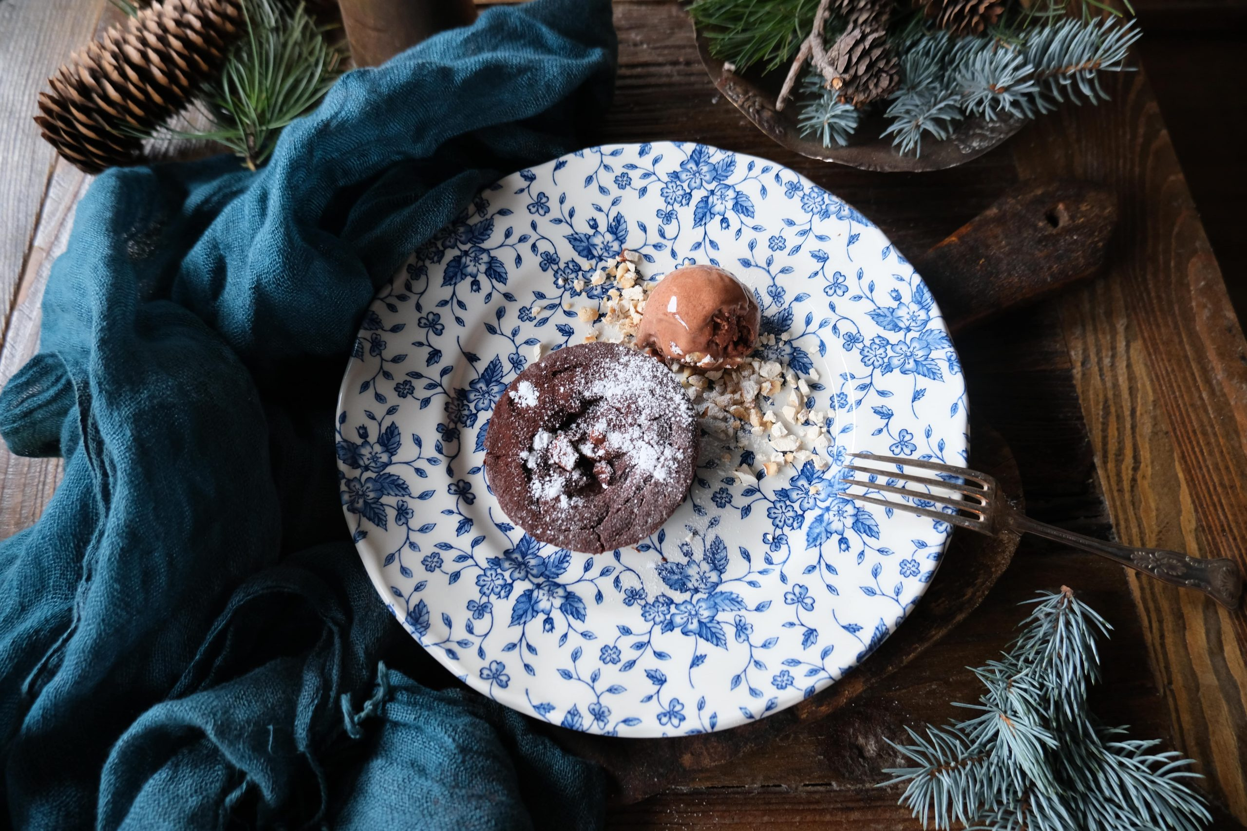Chocolate tart with homemade chocolate ice cream   Brasserie Uno Zermatt